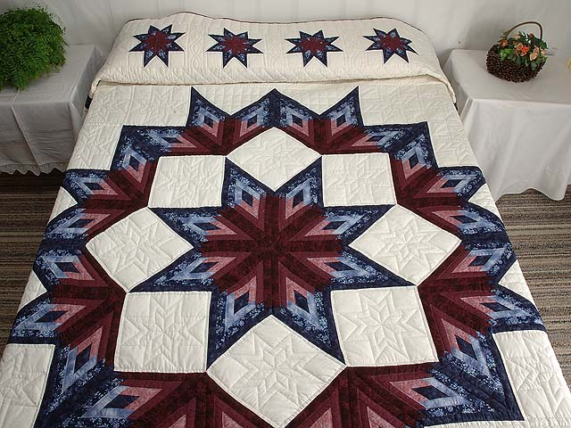 Navy And Burgundy Broken Star Log Cabin Quilt
