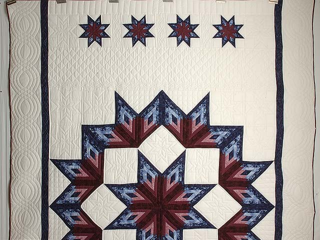 Navy and Burgundy Broken Star Log Cabin Quilt Photo 2