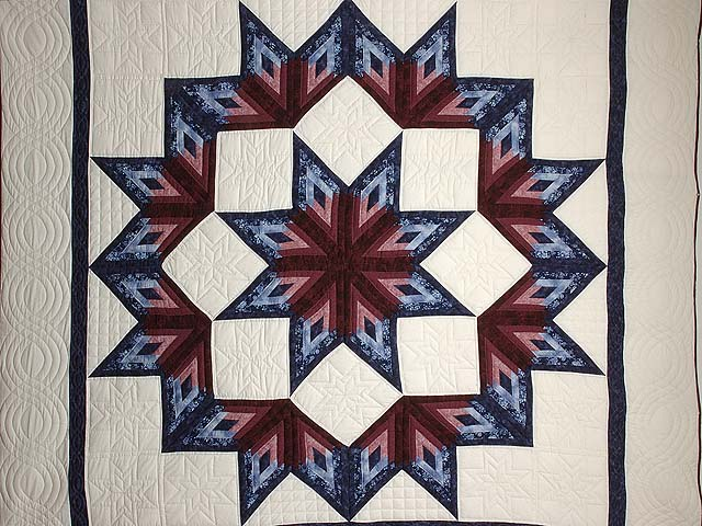 Navy and Burgundy Broken Star Log Cabin Quilt Photo 3