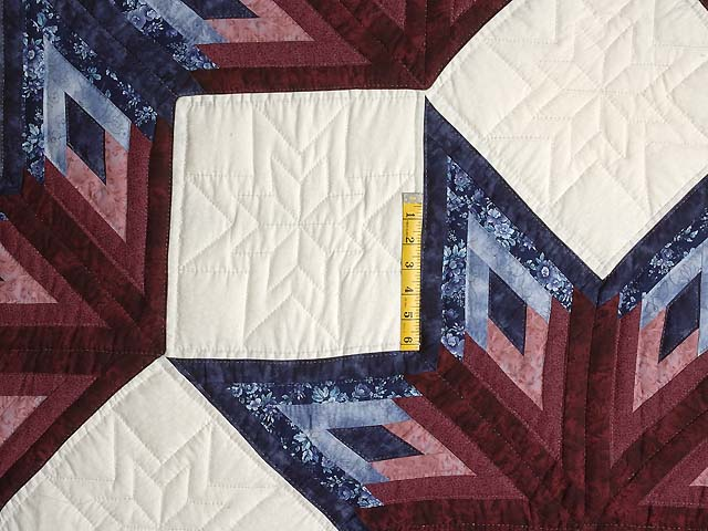 Navy and Burgundy Broken Star Log Cabin Quilt Photo 4
