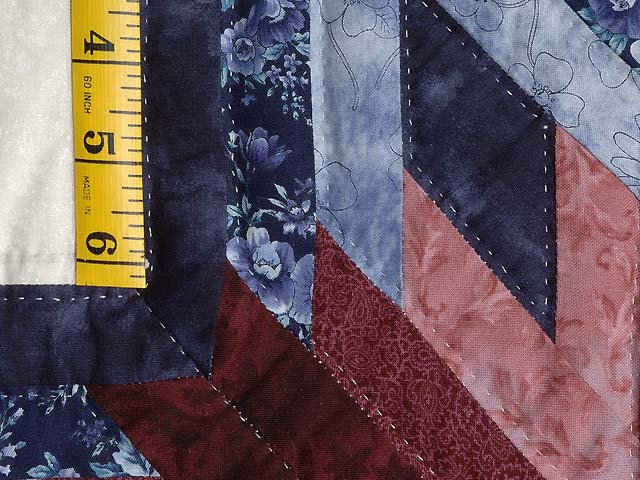 Navy and Burgundy Broken Star Log Cabin Quilt Photo 5