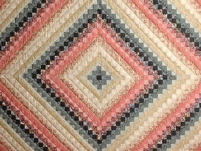 Rosy Pink and Aqua Trip Around the World Quilt Photo 3
