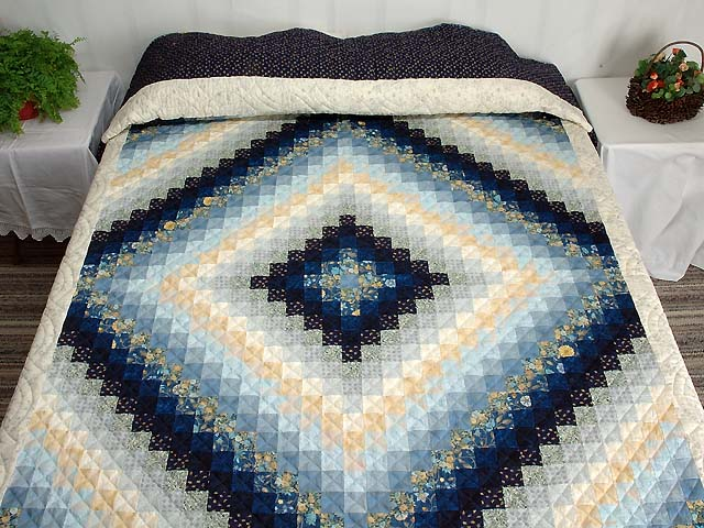 Extra Fine Navy Blue and Gold Trip Around the World Quilt Photo 1