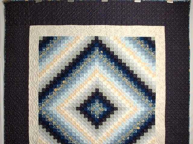 Extra Fine Navy Blue and Gold Trip Around the World Quilt Photo 2