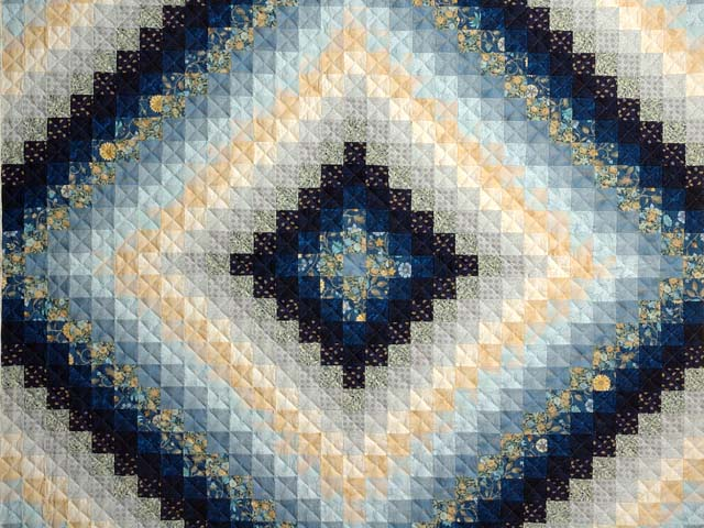 Extra Fine Navy Blue and Gold Trip Around the World Quilt Photo 3