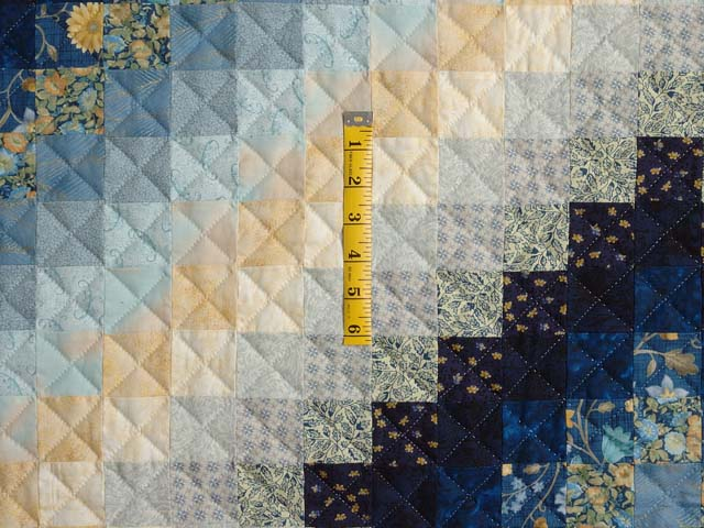Extra Fine Navy Blue and Gold Trip Around the World Quilt Photo 4