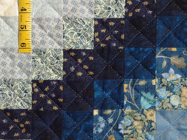 Extra Fine Navy Blue and Gold Trip Around the World Quilt Photo 5