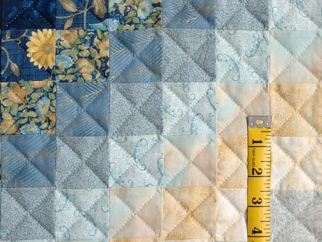 Extra Fine Navy Blue and Gold Trip Around the World Quilt Photo 6