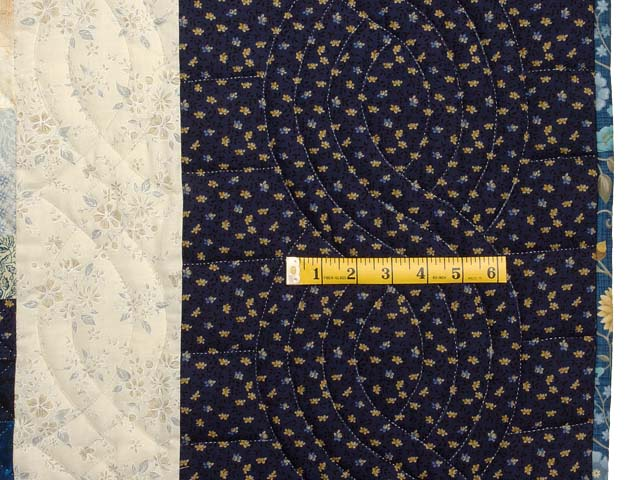 Extra Fine Navy Blue and Gold Trip Around the World Quilt Photo 7