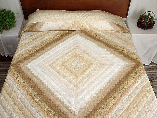 Wheat and Ivory Postage Stamp Quilt Photo 1