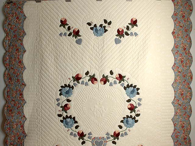 Powder Blue and Rose Heart of Roses Quilt Photo 2