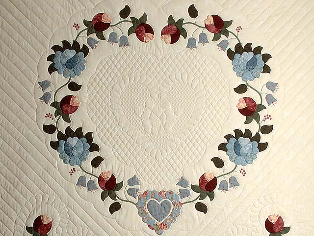 Powder Blue and Rose Heart of Roses Quilt Photo 3