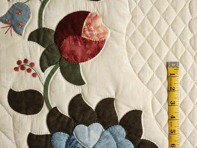 Powder Blue and Rose Heart of Roses Quilt Photo 5