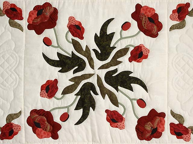 Paisley Red and Green Poppy Fields Quilt Photo 4