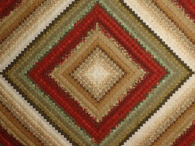 Gold  Red and Sage Postage Stamp Color Splash Quilt Photo 3