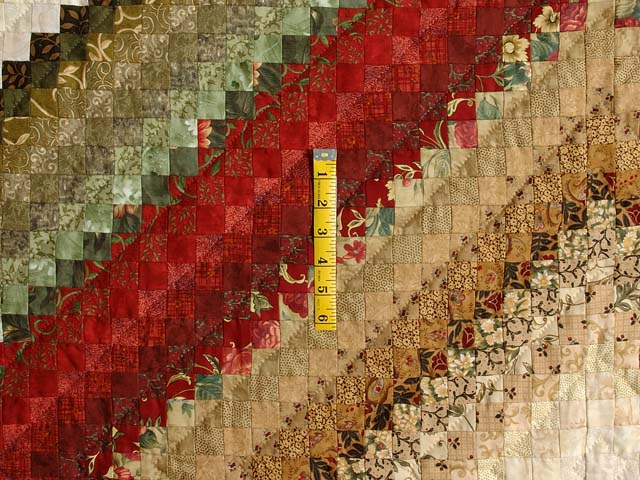 Gold  Red and Sage Postage Stamp Color Splash Quilt Photo 4