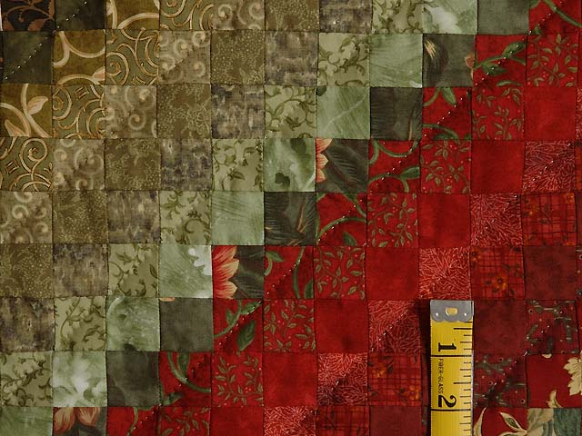 Gold  Red and Sage Postage Stamp Color Splash Quilt Photo 6