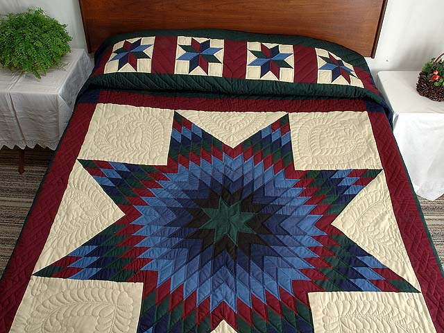 Amish Paper Bag Lone Star Quilt Photo 1