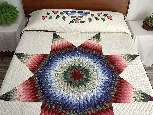 Blue Burgundy and Green Lone Star Country Bride Quilt Photo 1