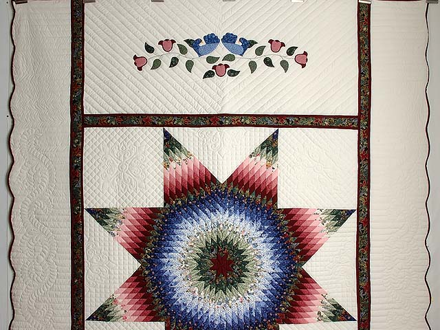 Blue Burgundy and Green Lone Star Country Bride Quilt Photo 2