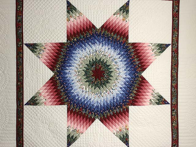 Blue Burgundy and Green Lone Star Country Bride Quilt Photo 3
