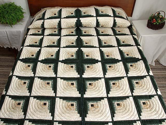 Dark Green Tan and Beige Monticello Log Cabin Quilt Photo 1
