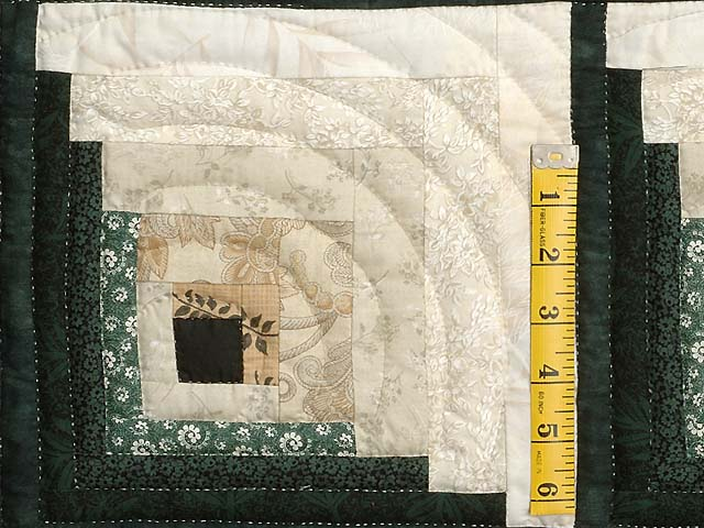Dark Green Tan and Beige Monticello Log Cabin Quilt Photo 4