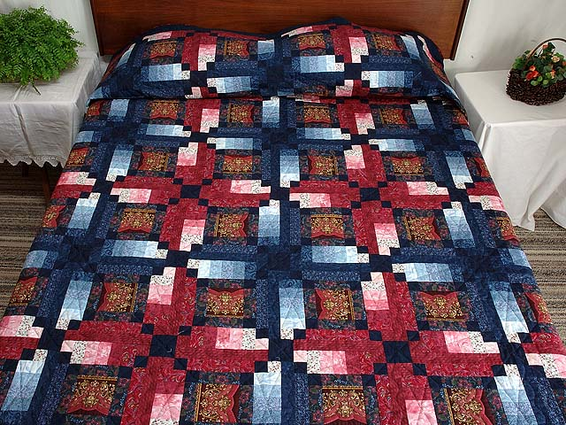 Burgundy Gold and Blue Sumatra Quilt Photo 1