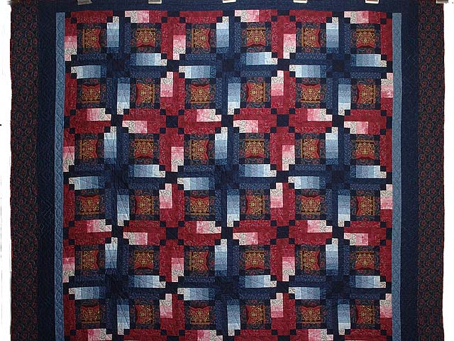 Burgundy Gold and Blue Sumatra Quilt Photo 2