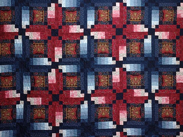 Burgundy Gold and Blue Sumatra Quilt Photo 3