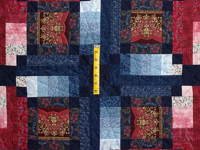 Burgundy Gold and Blue Sumatra Quilt Photo 4
