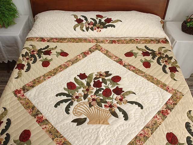 King Burgundy Moss Green and Gold Spring Basket Quilt Photo 1