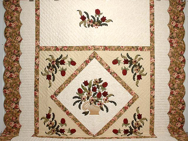King Burgundy Moss Green and Gold Spring Basket Quilt Photo 2