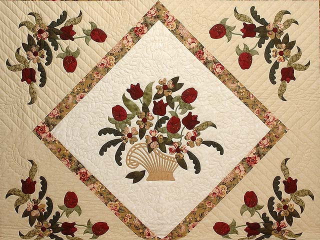 King Burgundy Moss Green and Gold Spring Basket Quilt Photo 3