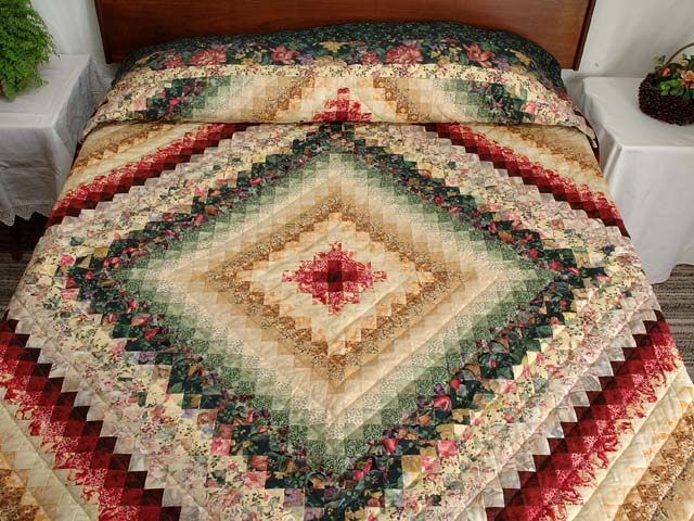 King Green Burgundy and Gold Color Splash Quilt Photo 1