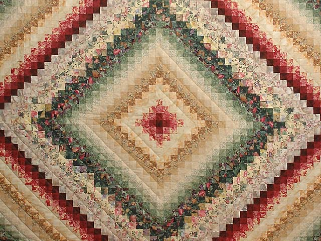 King Green Burgundy and Gold Color Splash Quilt Photo 3