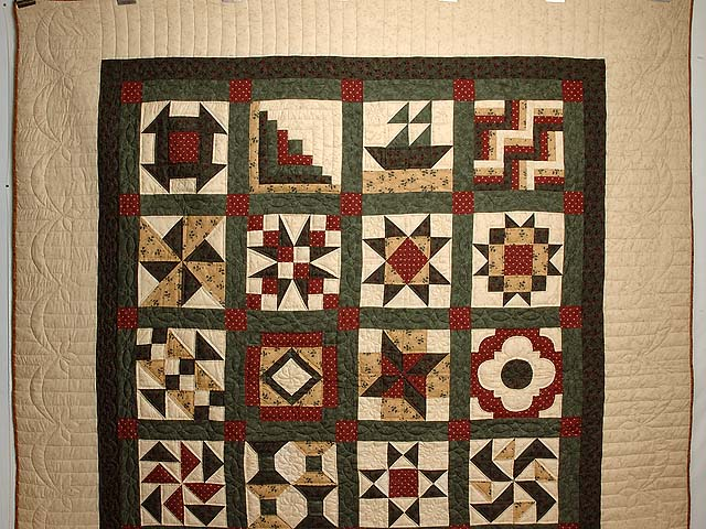 Green Burgundy and Tan Patchwork Sampler Quilt Photo 2