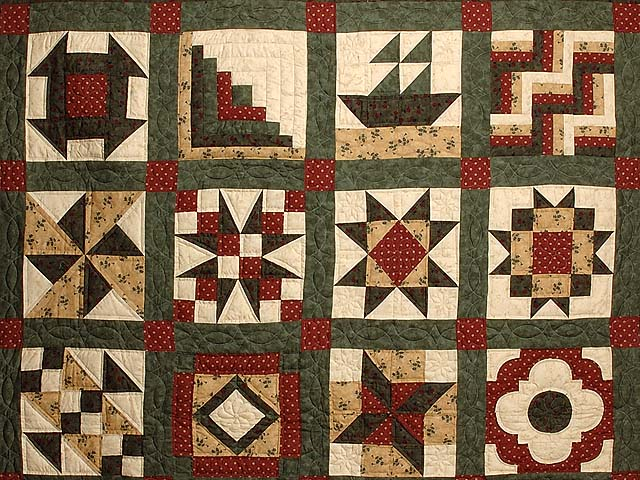 Green Burgundy and Tan Patchwork Sampler Quilt Photo 3
