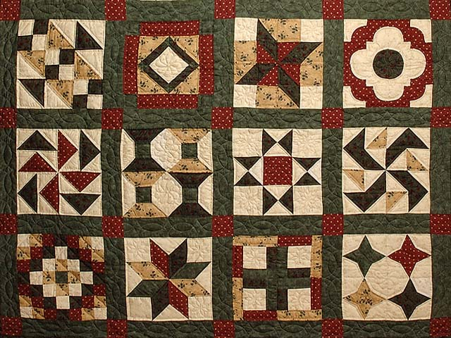 Green Burgundy and Tan Patchwork Sampler Quilt Photo 4