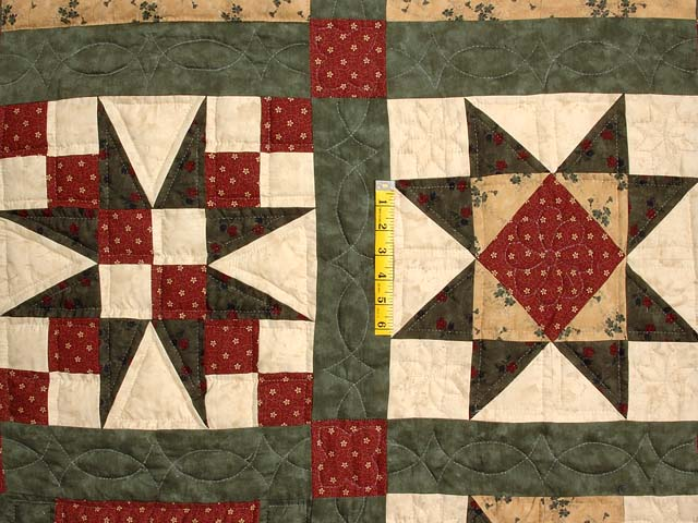 Green Burgundy and Tan Patchwork Sampler Quilt Photo 5