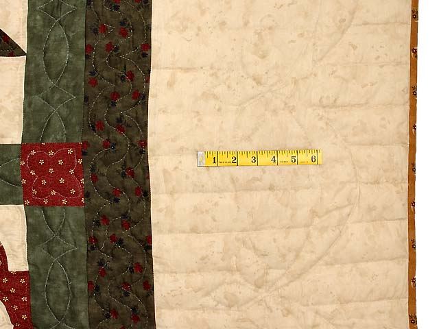 Green Burgundy and Tan Patchwork Sampler Quilt Photo 7