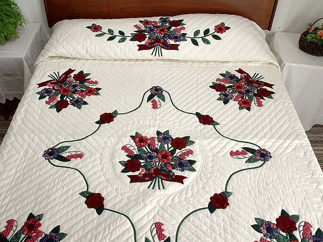 Dark Burgundy and Blue  Rose of Sharon Quilt Photo 1