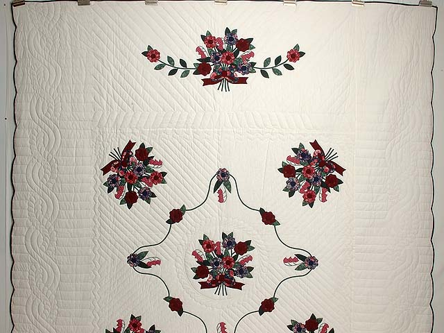 Dark Burgundy and Blue  Rose of Sharon Quilt Photo 2
