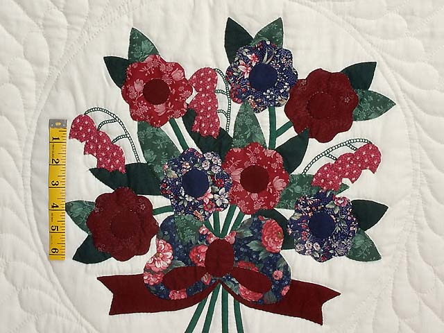 Dark Burgundy and Blue  Rose of Sharon Quilt Photo 4