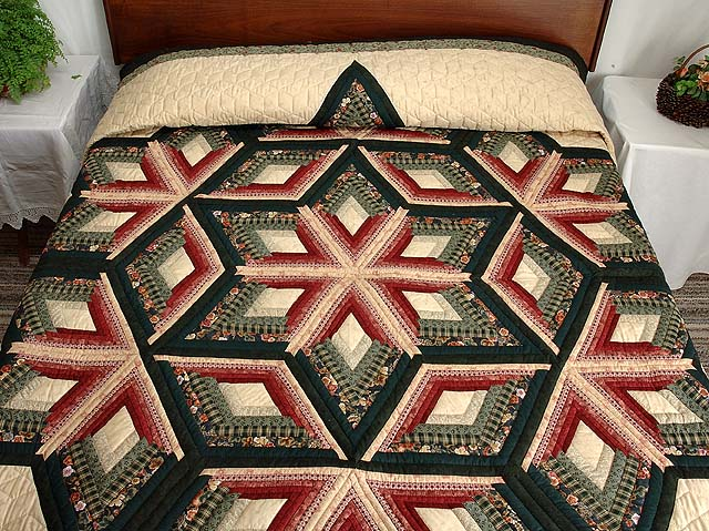 Green and Burgundy Diamond Star Log Cabin Quilt Photo 1