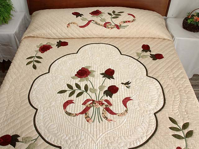 Tan Burgundy Rose and Moss Lancaster Treasures Quilt Photo 1