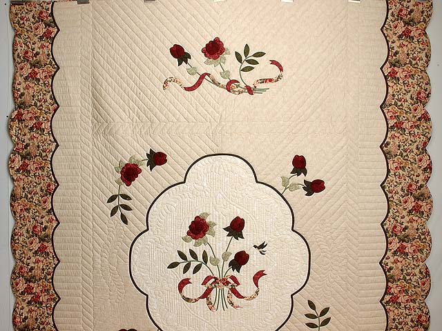 Tan Burgundy Rose and Moss Lancaster Treasures Quilt Photo 2
