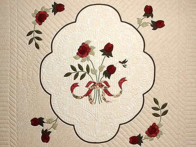 Tan Burgundy Rose and Moss Lancaster Treasures Quilt Photo 3