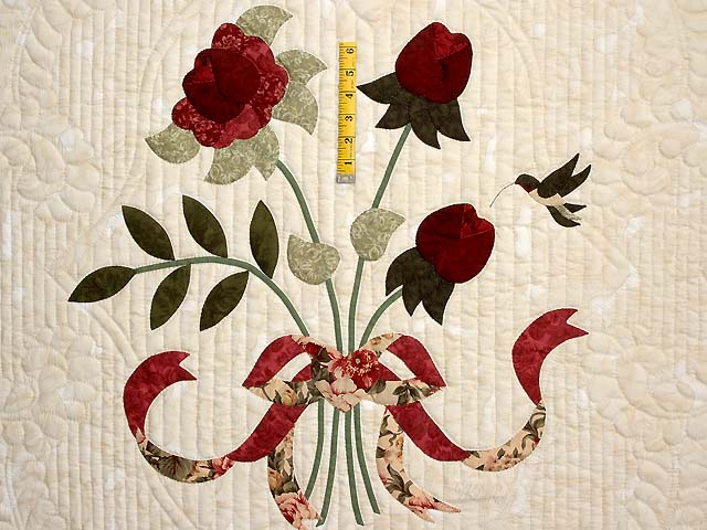 Tan Burgundy Rose and Moss Lancaster Treasures Quilt Photo 4