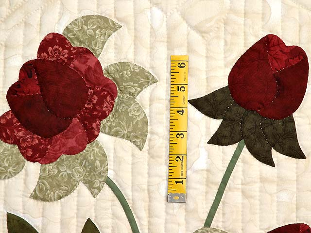 Tan Burgundy Rose and Moss Lancaster Treasures Quilt Photo 5